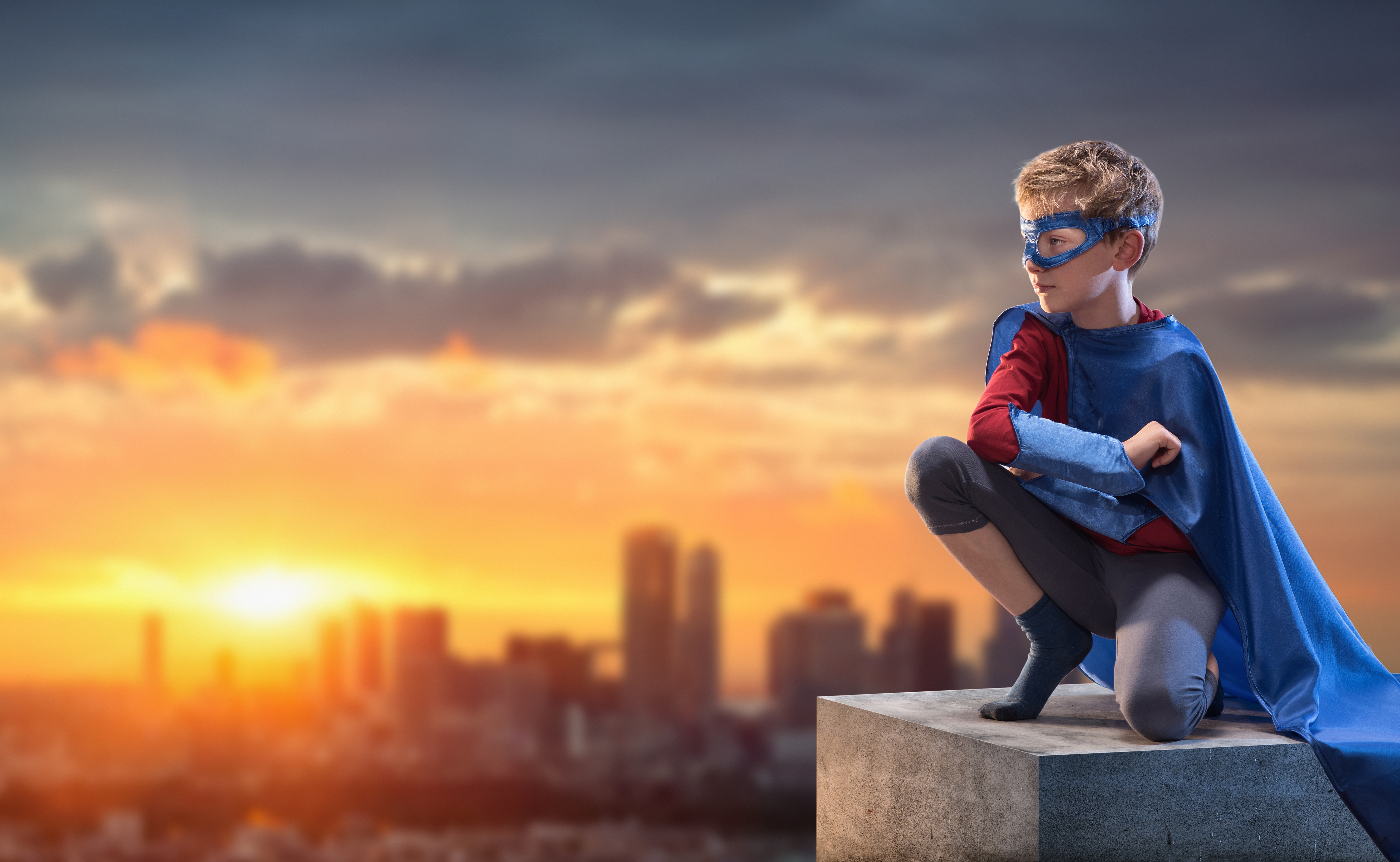 Boy dressed as superhero dreams about saving the city